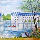 Chateau Chenonceau watercolor painting by coolart