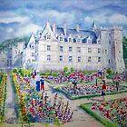 Chateau de Villendry watercolor painting by coolart
