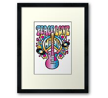 Peace, Love and Music in Bright Colors Framed Print
