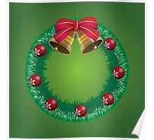 Christmas wreath with bells Poster