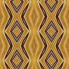Yellow , Ochre and Brown Diamond Pattern by taiche