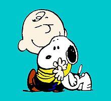 Snoopy hugs Charlie Brown by Francerost