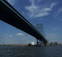 The Ben Franklin Bridge by Linda Sannuti