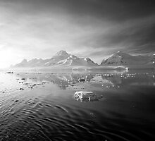 Sunset over the Neumayer Channel, Antarctica - Number ten mono by cpcphoto