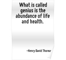 What is called genius is the abundance of life and health. Poster