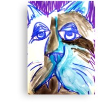 Abstract Blues Cat Canvas Print