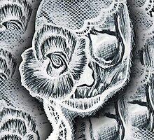 White Skull Collage by HeatherMel