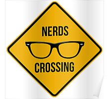 Nerds crossing. Caution sign. Poster
