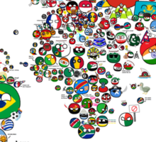 Polandball Countryball World Map - No Border Sticker