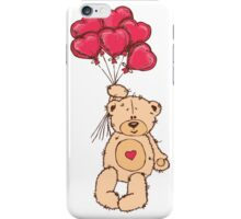 Cute Teddy Bear Valentine With Heart Balloons iPhone Case/Skin