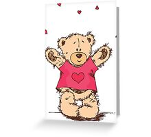 Cute Teddy Bear With Arm Open  Greeting Card