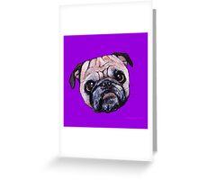 Butch the Pug - Purple Greeting Card