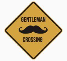 Gentleman Moustache Crossing caution sign. Kids Clothes