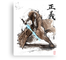 Jedi Knight from Star Wars with calligraphy Metal Print