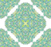 Hand drawn green ornamental rectangles by Patternalized
