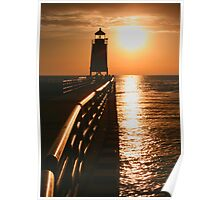 Fiery Waters -- Charlevoix Lighthouse, Michigan Poster