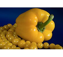 yellow paprika and beads Photographic Print