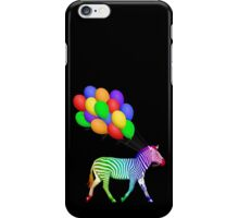 Rainbow Party Zebra - Now with Balloons! iPhone Case/Skin