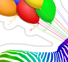 Rainbow Party Zebra - Now with Balloons! Sticker