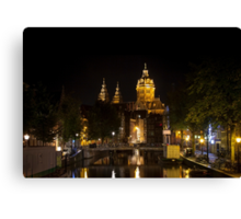Amsterdam night: Church of Saint Nicholas Canvas Print