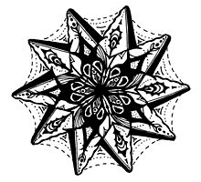 Star Tangles 1 Black - An Aussie Tangle by Heather Holland - See Description Notes for Colour Options.  by Heatherian