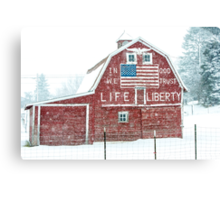 Americana Barn in the Snow Storm Canvas Print