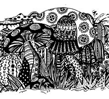 Mushrooms 1 Aussie Tangle Transparent by Heather Holland - See Description for Colour Options by Heatherian
