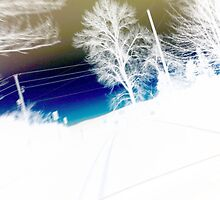Landscape abstract, blue gold and white by ackelly4