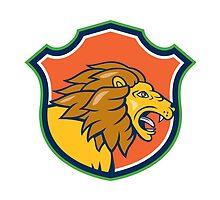 Angry Lion Head Roar Shield Cartoon by patrimonio