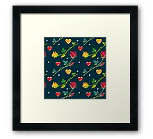Roses and hearts on a dark background Framed Print