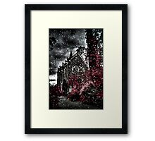 Snowy day at Monsalvat Framed Print