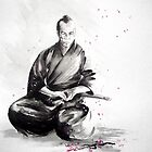 Samurai sign, japanese warrior ink drawing, mens gift idea large poster by Mariusz Szmerdt