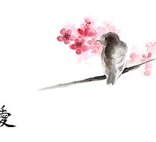 Sparrow sumi-e bird birds on branches ink drawing , cherry blossom flowers, japanese home decor by Mariusz Szmerdt