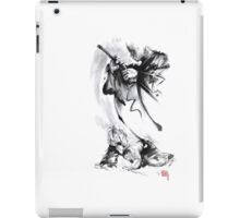 Aikido techniques martial arts sumi-e black and white ink painting watercolor art print painting, japanese warrior artwork iPad Case/Skin
