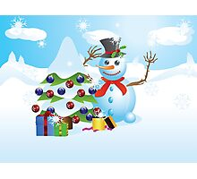 Snowman with Christmas tree Photographic Print