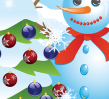 Snowman with Christmas tree Sticker
