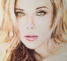Scarlett Johansson, Pastels Portrait, by James Patrick by James Patrick