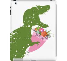 Derpy t-rex dinosaur flower bouquet Valentines Day iPad Case/Skin