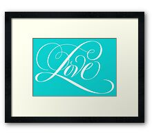 Elegant White Flourished 'Love' Calligraphy Script Hand Lettering on Aqua Blue Framed Print