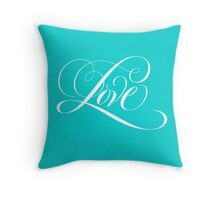 Elegant White Flourished 'Love' Calligraphy Script Hand Lettering on Aqua Blue Throw Pillow