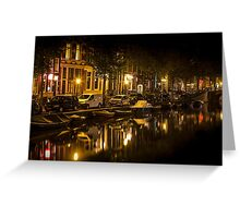 Amsterdam night: canal in Red District Greeting Card