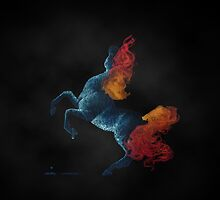 Self Destruction: Rearing Fire and Ice Horse Inverted Painting by Anila Tac