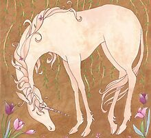 Unicorn and Tulips by Michelle Tribble