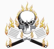 Flaming Skull and Spatulas by dxf1969
