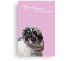 Funny Dog and Text Poster - Headscarf Beads Shades Canvas Print