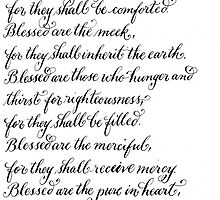 Blessed Are handwritten beatitudes verses by Melissa Goza