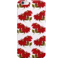 Poinsettia Flowers, Leaves - Red Green iPhone Case/Skin