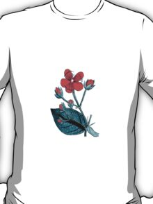Flower Blossom, Petals, Leaves - Green Red T-Shirt