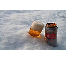 Beer in the snow Photographic Print