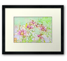 Pink And White Lilies - Digital Watercolor  Framed Print